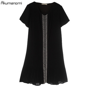 Image 3 - Summer Draped Dress Women Clothing Black O neck Short Sleeve Beading Dress High Quality Fashion Plus Size 5XL 4XL 3XL 2XL XL L M