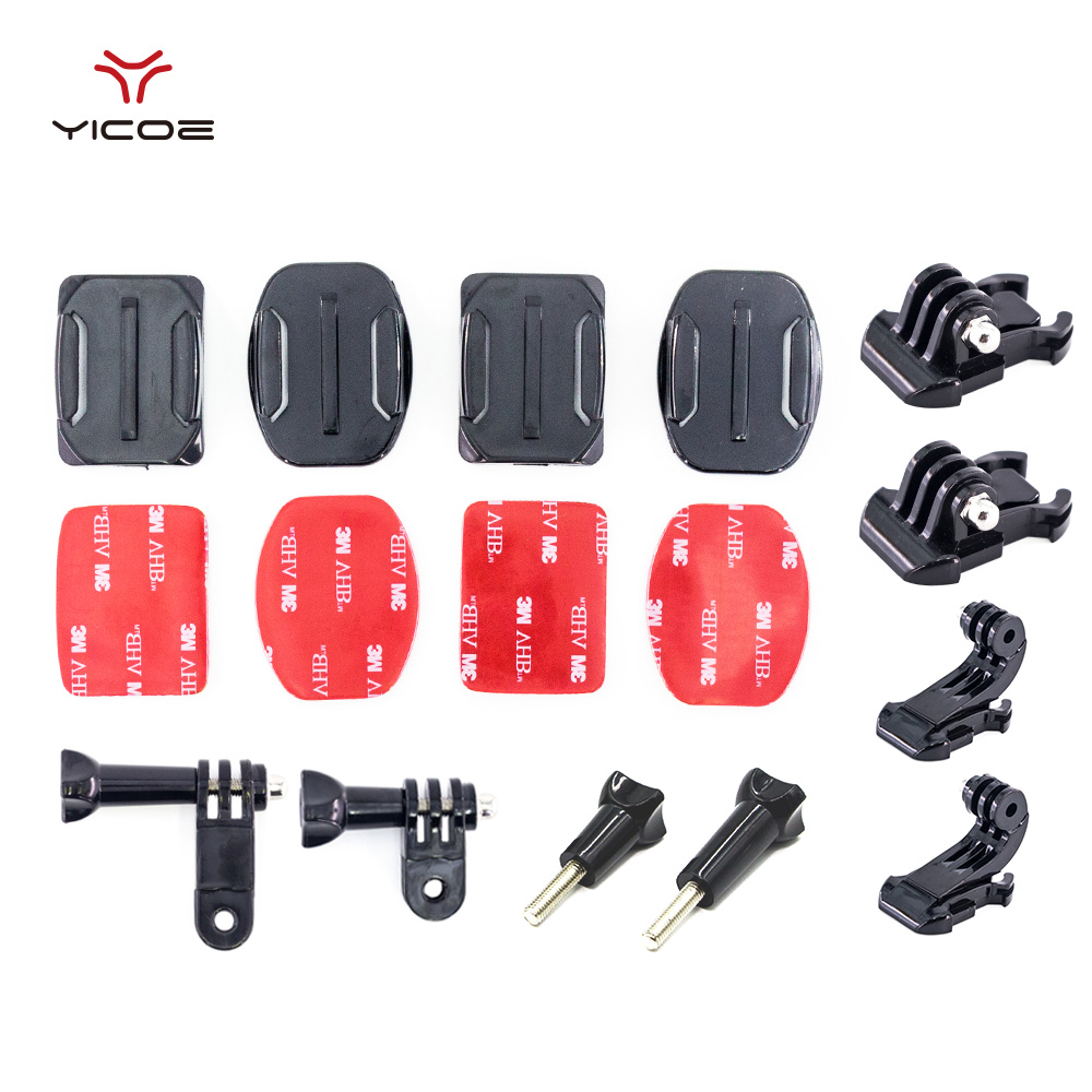 Helmet Curved Flat Mount Three-way Adjustable Pivot Arm Screw Buckle For Gopro Go pro 5 Session xiaomi yi 4k Camera Accessories
