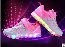 2017 new children's clothing USB charger fashion sneakers children baby boys and girls casual shoes LED lights luminous shoes