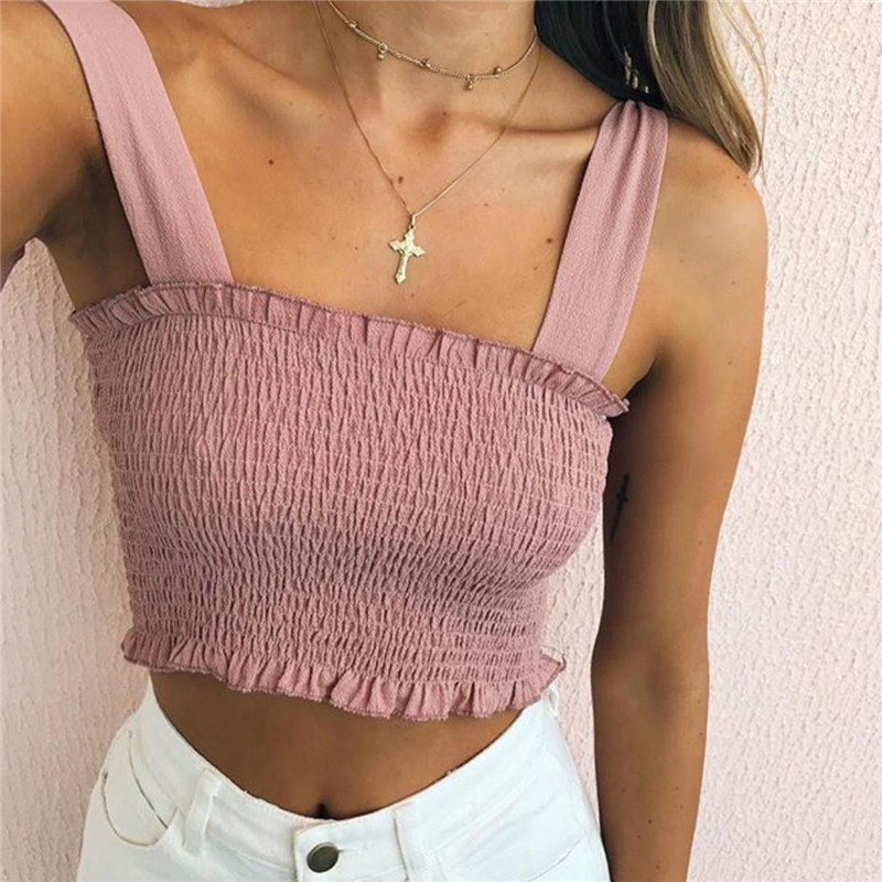 Camisole Top Strap Crop-Top Elastic Plaid Print Fashion Women Summer Sleeveless Bowknot