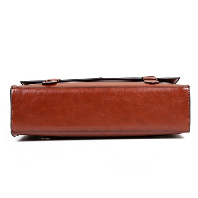 ECOSUSI New Design Women Messenger Bags Vintage PU Leather Handbag Crossbody Satchel Briefcase Bolsas Femininas for 14.7″ Laptop
