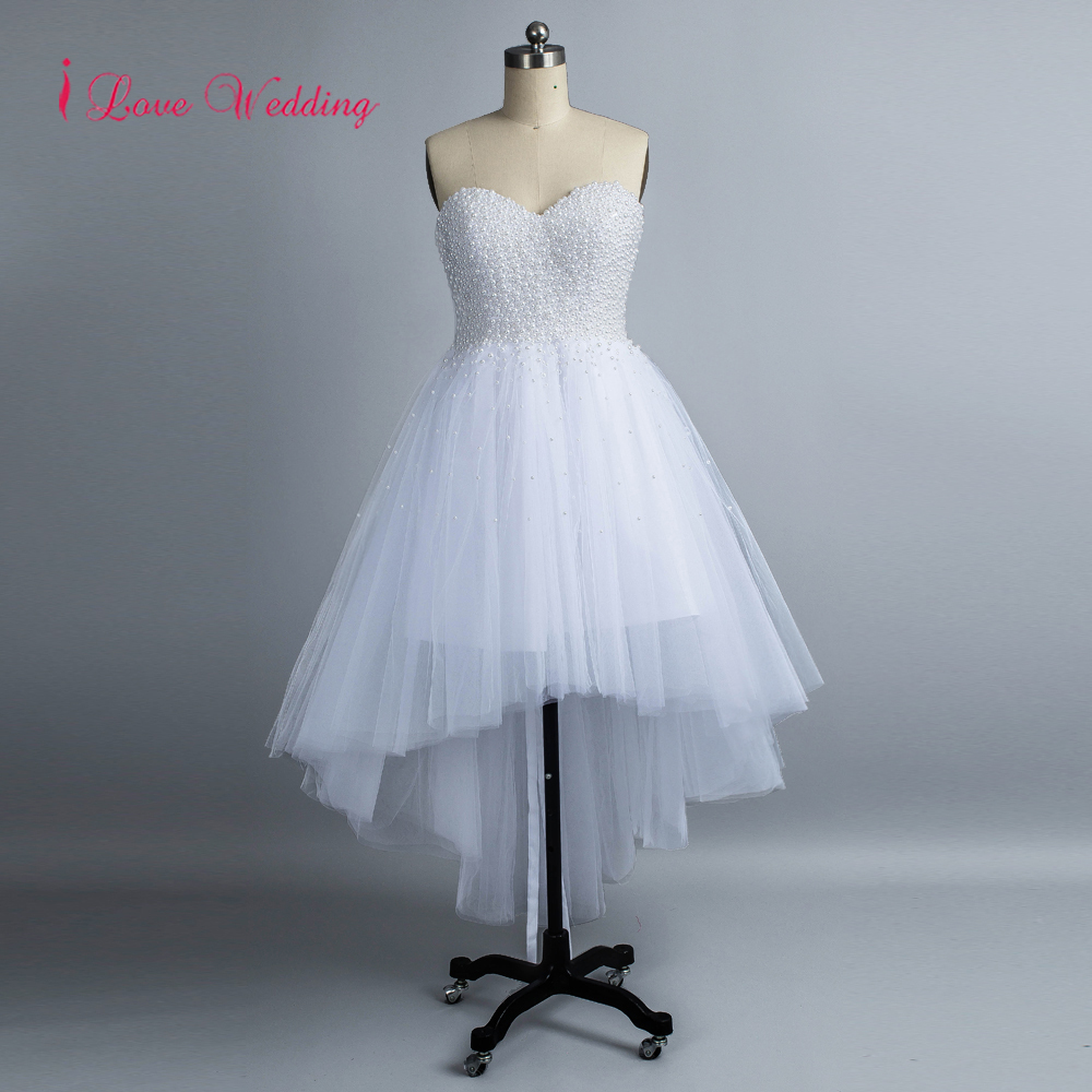 Front Short Long Back Pearls Beaded   Evening     Dresses   Sweetheart Neckline White Tulle Prom   Dresses   High Low 2018 Lace Up Back