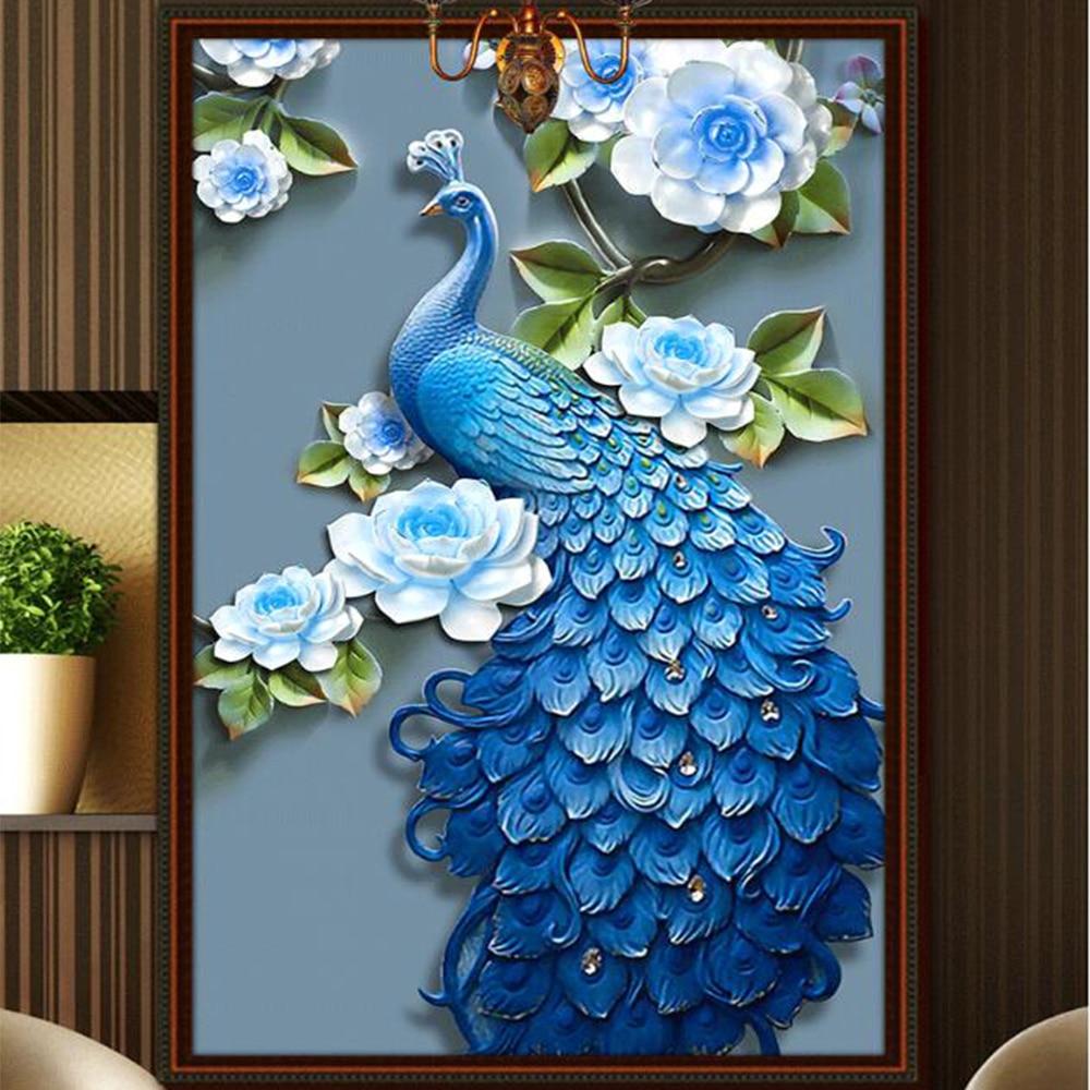 Peacock 5D Round Diamond Painting DIY Embroidery Cross Stitch Home Decor Craft
