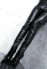 Chaussures femme winter motorcycle black leather knee thigh high long boots sexy over the zipper heel botas 2010