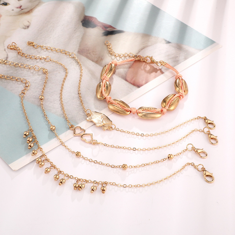 boho Beads Ankle Bracelet cheville for Women Gold Color Leg Chain Tassel initial Anklet Vintage Foot leg Jewelry Accessories in Anklets from Jewelry Accessories
