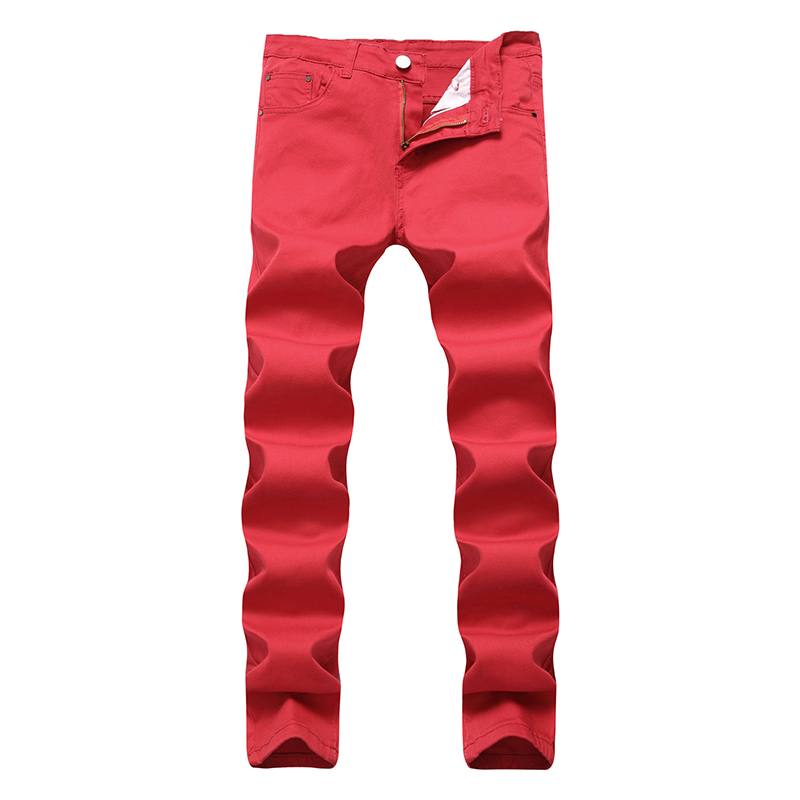 ABOORUN 2018 New Mens Skinny Jeans Solid Elastic Pencil Denim Candy Colors Casual Jogger ...