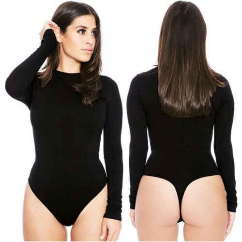 Женский облегающий боди с длинным рукавом, купальник, Женский Топ, лето-осень, однотонный черный, однотонный, сексуальный, короткий, Повседневный, футболка, комбинезон, комбинезон