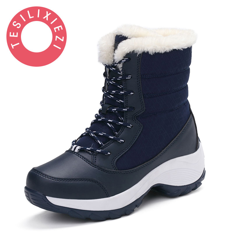 Plus Size Women Snow Boots High Quality Winter Warm Boots Thick Bottom Platform Waterproof Ankle Boots Female Thick Fur Shoes fawn warm women s snow boots ming blue size 37