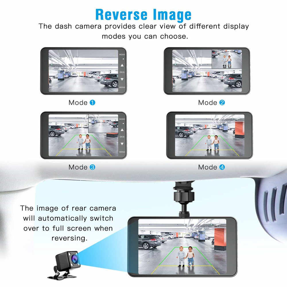 "Tefanball автомобильный рекордер 4 ""ips Двойной объектив Автомобильный видеорегистратор FHD 1080P Dashboard камера g-сенсор монитор парковки WDR"