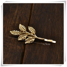 Gold Plated Leaf Design Hairpin For Girl Women
