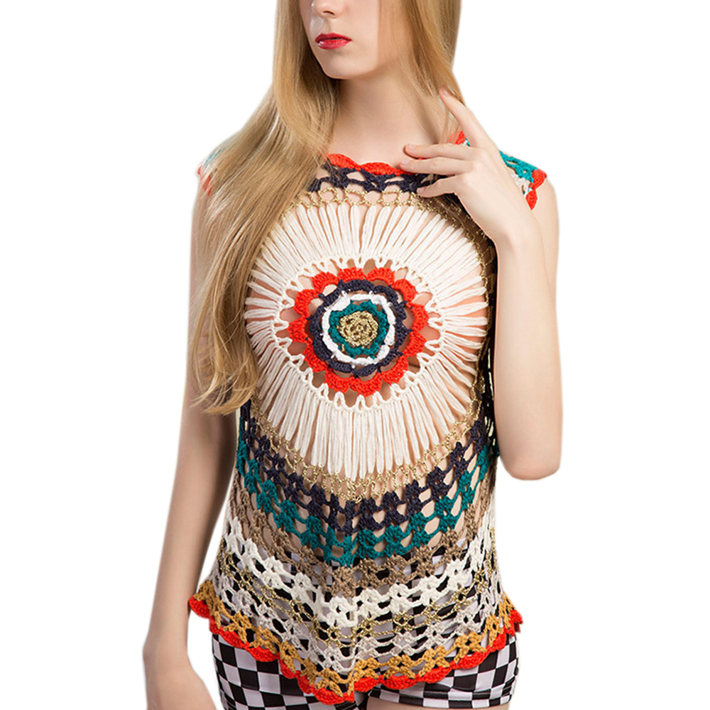 Design Hollow Out  Beach Bohemian Style Colorful Tops Knitting Summer O Neck Patchwork Holiday Tank Tees Clothes