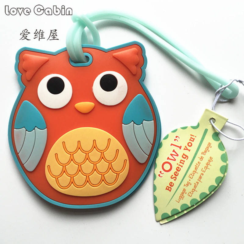 Baby shower Travel Large Luggage Tag Cute Cartoon Silica Gel Animal Owl Suitcase Baggage Boarding Tags Portable Travel Label