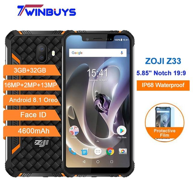"HOMTOM ZOJI Z33 Smartphone Android 8.1 4G IP68 Waterproof 5.85"" 19:9 Notch 3GB+32GB 4600mAh Dual Rear Camera 16MP Face ID phones"