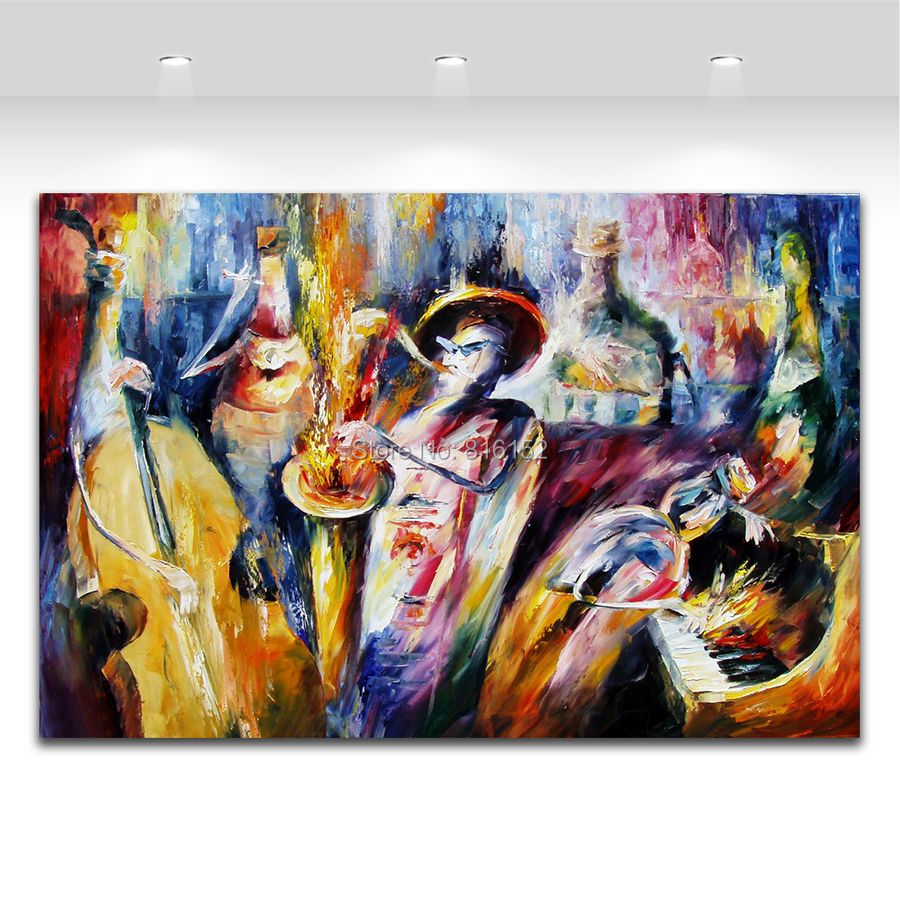 Palette Knife Painting Bottle Play Jazz Music Carnival Picture Wall Art Printed On Canvas For Home