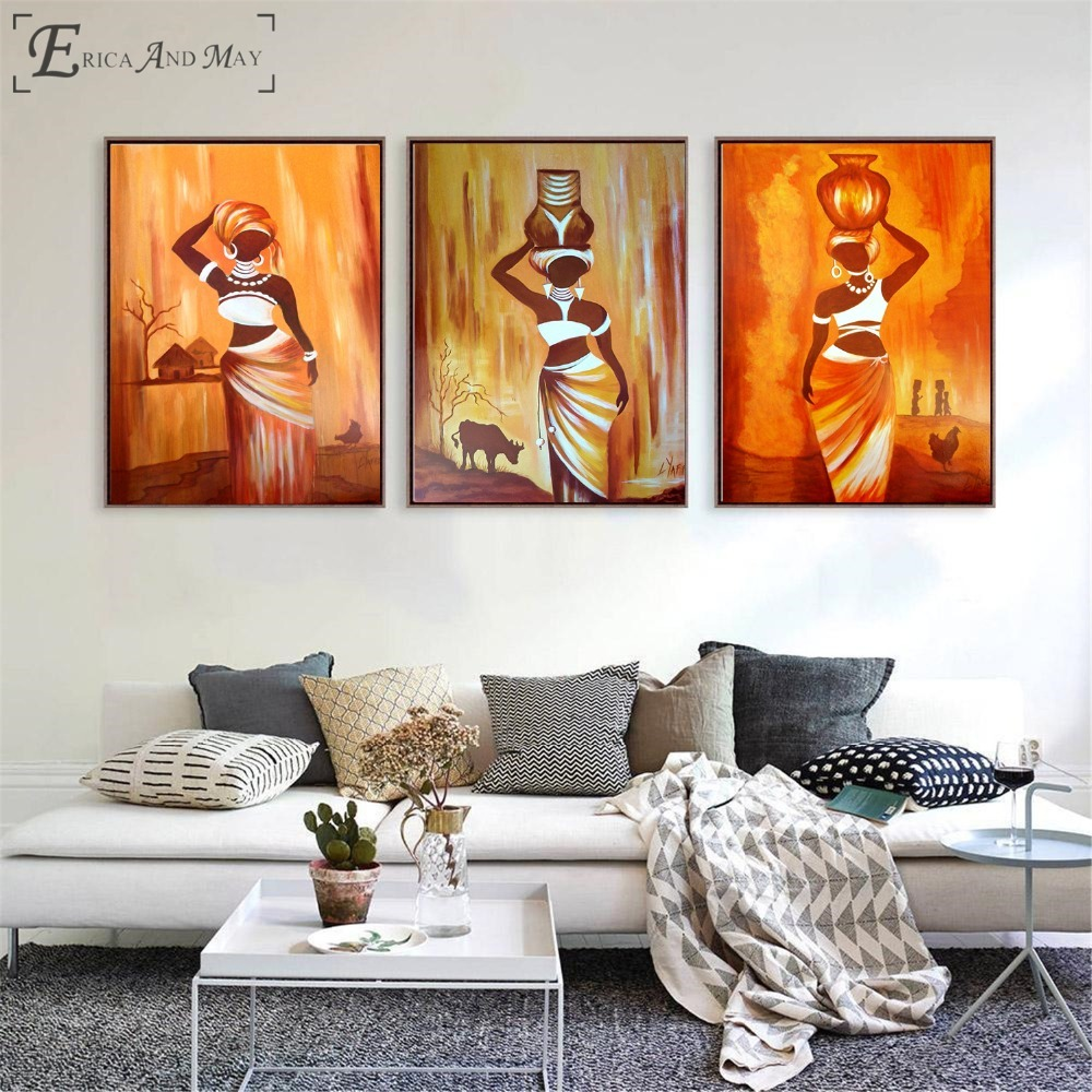 ⑧Femme africaine triptyque Style affiches impressions mur ...