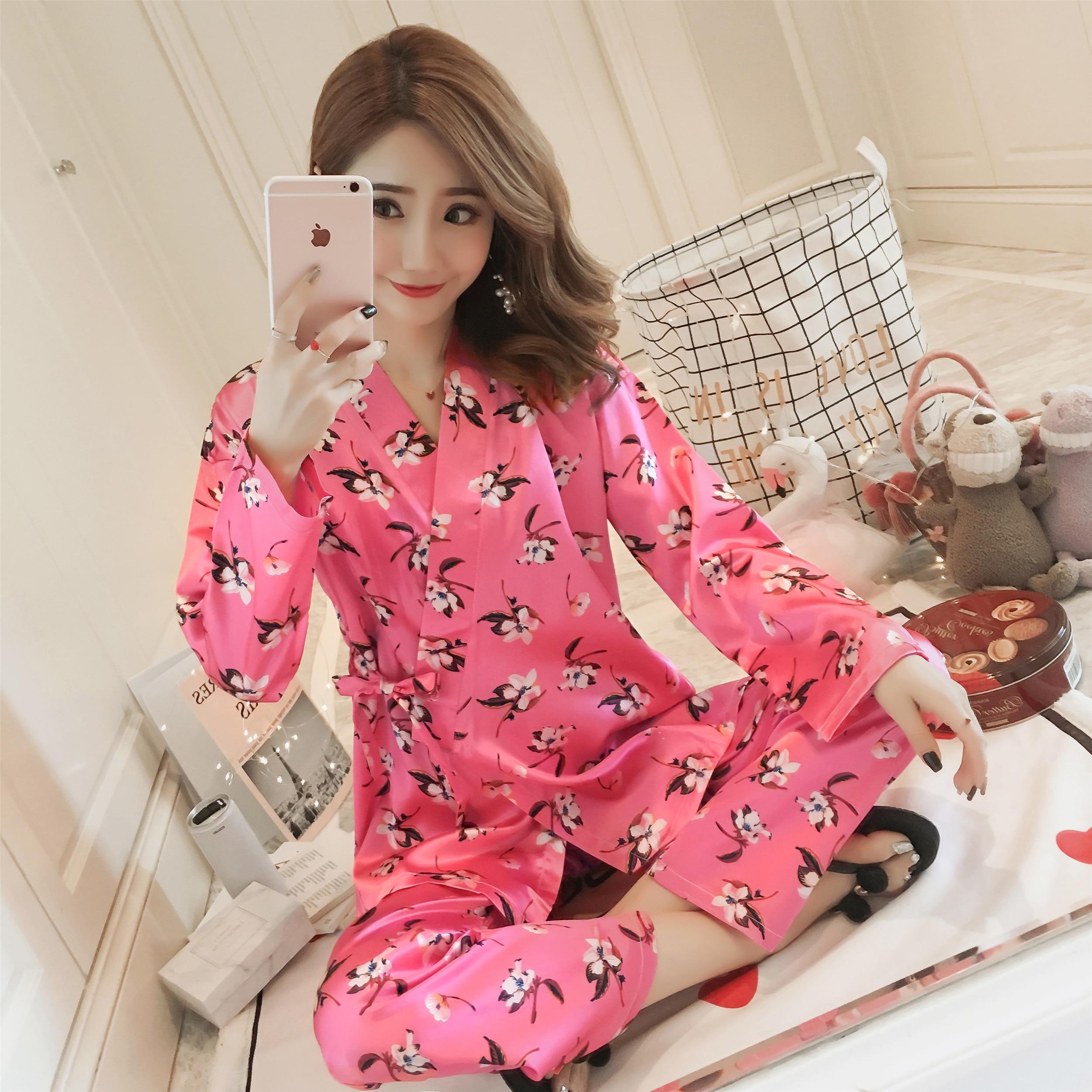 WAVMIT 2018 Autumn Winter Silk   Pajamas     Set   Women Sleep Kimono Bathroom Pijama Women   Pajama     Sets   Long Pant   Set   Robe Women   Pajamas