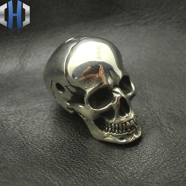 White Fine Polishing Brass Skull Head Three Links DIY Paracord Beads Umbrella Pendants Personalized Accessories EDC Knife Beads