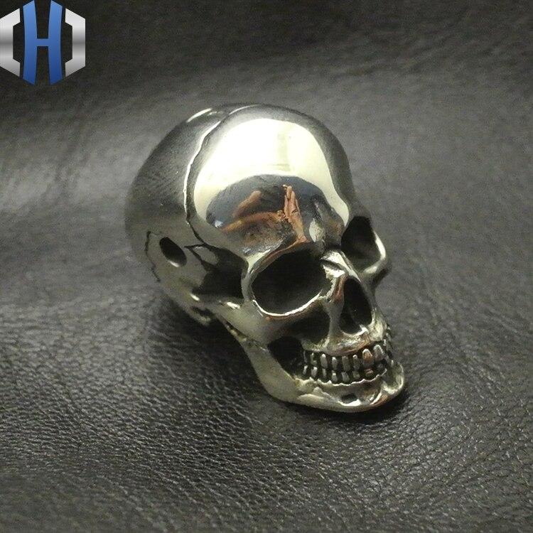 White Fine Polishing Brass Skull Head Three Links DIY Paracord Beads Umbrella Pendants Personalized Accessories EDC Knife Beads