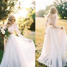 2017 Romantic Two Pieces Bohemian Wedding Dress Elegant Chiffon Long Sleeves Lace Summer Beach Bridal Gown Plus Size Custom Made