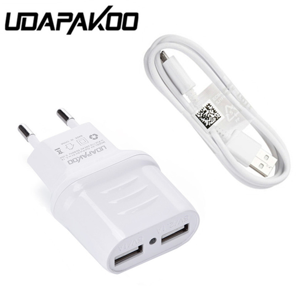 Double USB port eu Travel Charger adapter + 1M micro usb cable For Samsung Galaxy huawei sony lg ZTE doogee x5 max pro Leagoo m8