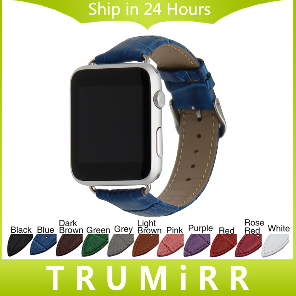 Calf Genuine Leather Watchband Croco Strap for 38mm 42mm iWatch Apple Watch Band Wrist Belt Bracelet with Connectors Multi Color 6 colors luxury genuine leather watchband for apple watch sport iwatch 38mm 42mm watch wrist strap bracelect replacement