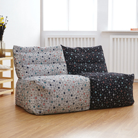 2pcs Linen Bean Bag Living Room Chair Leisure Lazy Sofa Cushion Cover Only