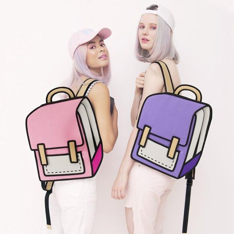 Flyone Fashion Cute Student Bags Women Backpack 3D Jump Style 2D Drawing Cartoon Back Bag Comic Unisex Knapsack Bolos FY0189
