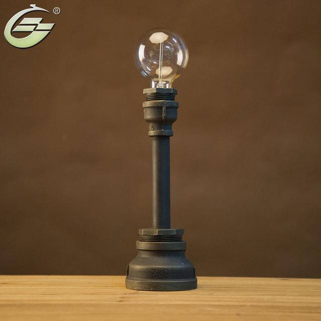Do Metal do vintage E27 Lâmpada de Mesa Novetly Tubulação de Água Tubo de Ferro Iluminação Lâmpadas de Mesa Tubo de Aço Industrial Retro luz para Quarto
