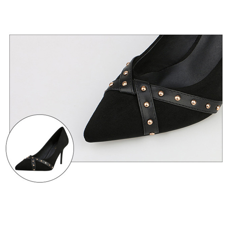 women 39 s shoes high heel Sexy luxury Wimen 39 s shoes studded heels summer footwear Female shoes for party Spring Autumn Black 2019 in Women 39 s Pumps from Shoes