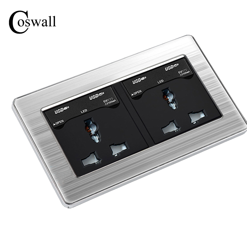 COSWALL 146 UK Universal Double Socket with 4 USB Charge Port For Mobile Output 5V 2.1mA Wall Power Outlet Stainless Steel Panel coswall wall socket uk standard power outlet switched with dual usb charge port for mobile 5v 2 1a output stainless steel panel