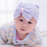 0 3 Month Newborn Bow Hats Girls Newborn Knit Hats Striped Sequined Bowknot Pink Blue Beanie
