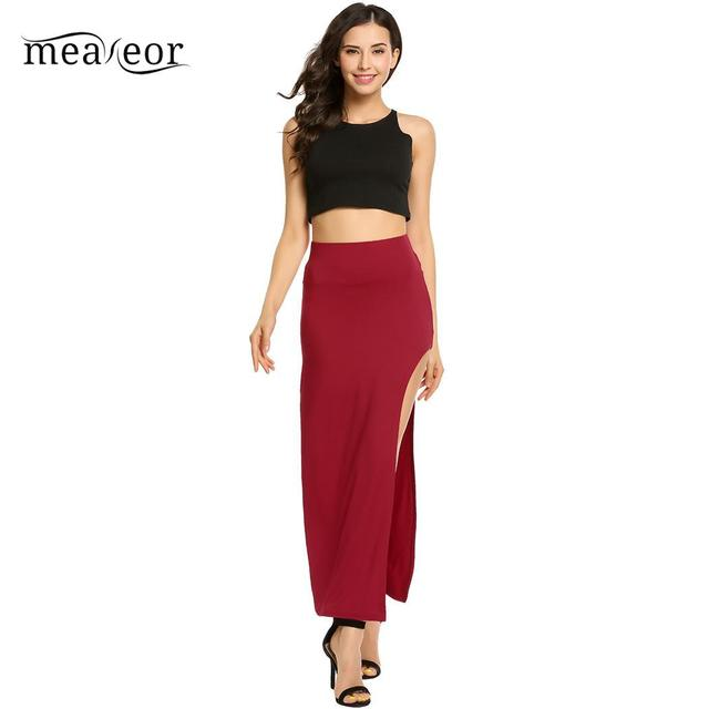 None Package High Elastic Waist Women Hip Full Long Pencil Skirt Asymmetric Backless 6