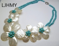 LJHMY Fashion Jewelry Five White Mother Pearl Shell Flower Turquoises NecklaceWomen Wedding Party Necklace Gift