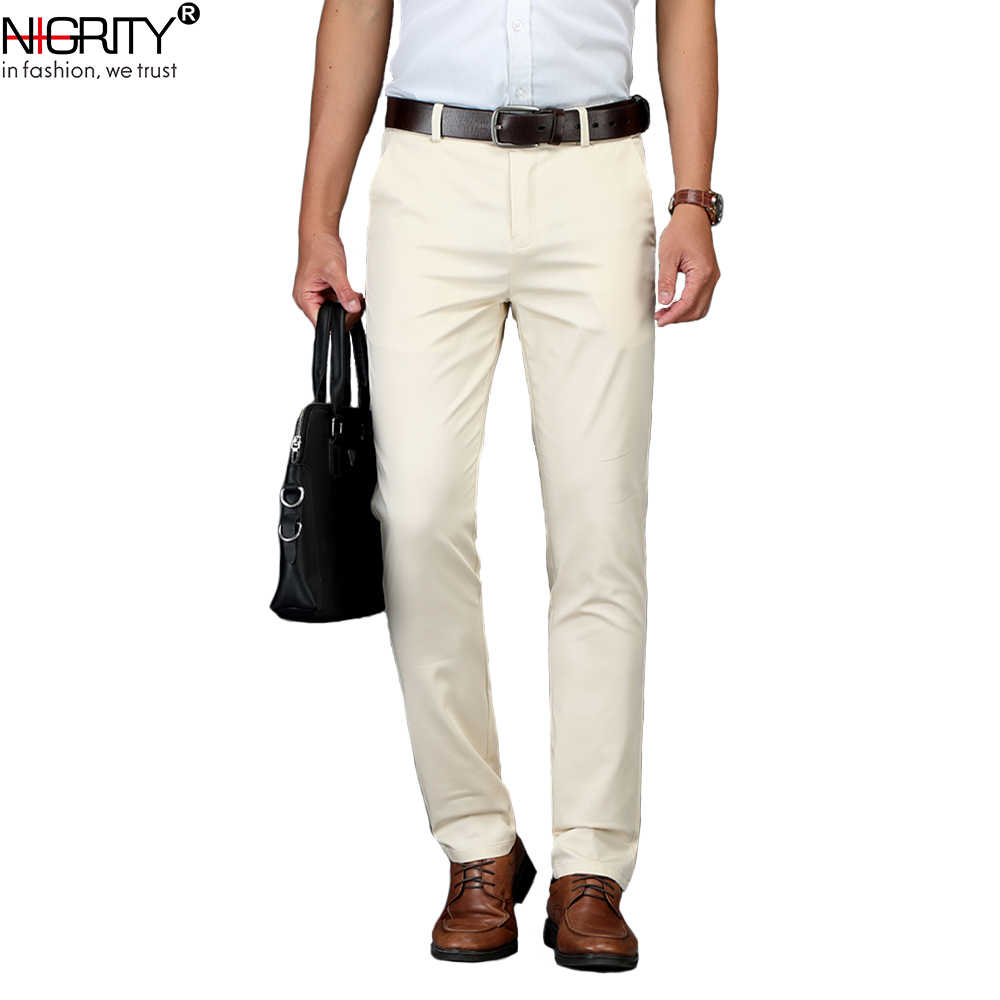 NIGRITY Fashion New High Quality Cotton Men Pants Straight Spring and Summer Long Male Classic Business Casual Trousers 29-40