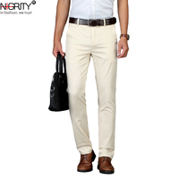 NIGRITY Fashion New High Quality Cotton Men Pants Straight Spring and Summer Long Male Classic Business Casual Trousers 29 40