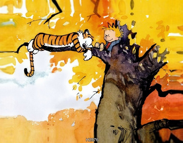 Calvin And Hobbes On The Tree Poster 50x75cm Free Shipping Canvas Print