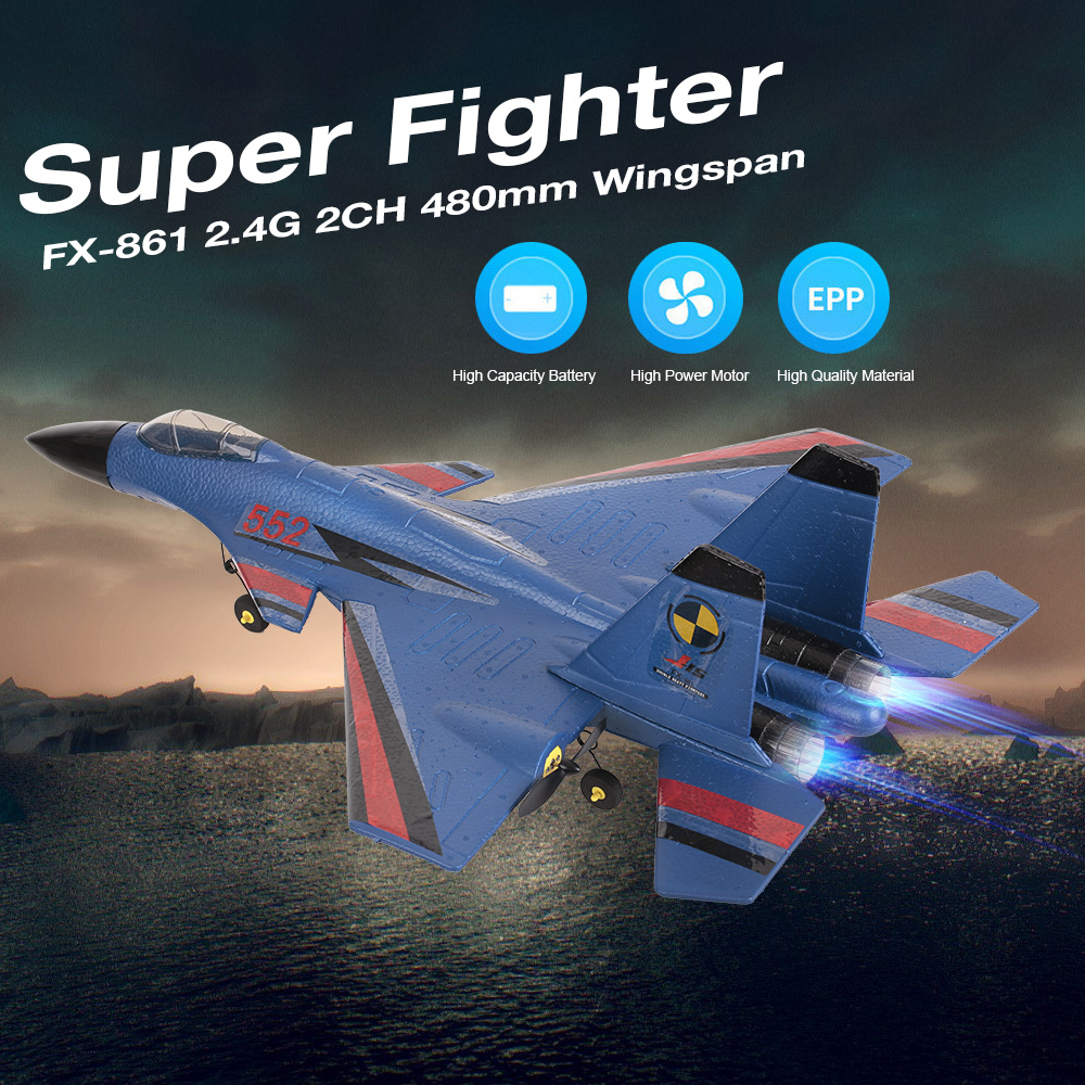 RC Airplane FX 861 2 4G 2CH 480mm Wingspan Remote Control Fighter Fixed Wing with Light