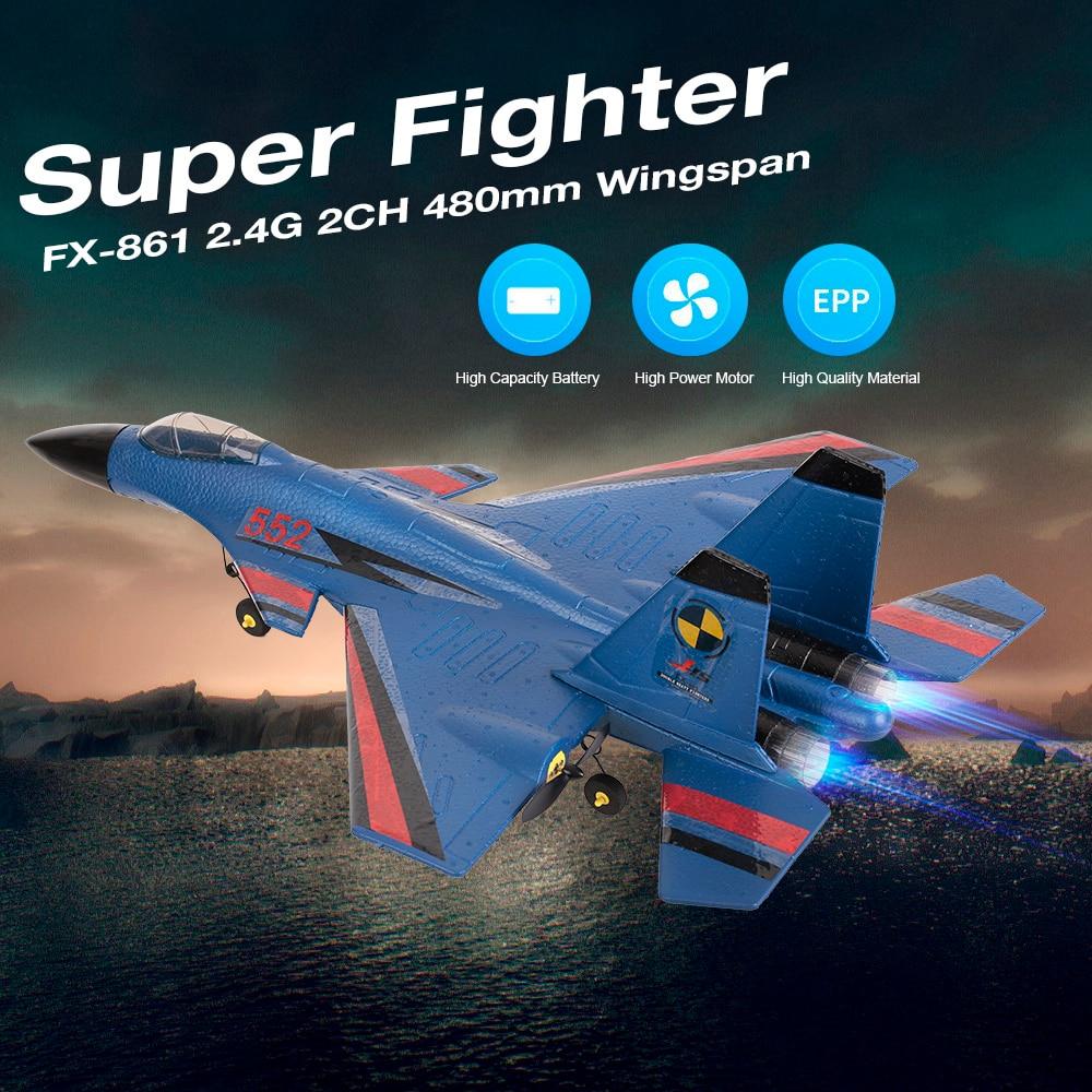 RC 飛行機 FX 861 2.4 グラム 2CH 480 ミリメートル翼幅リモコン戦闘機固定翼光 EPP 飛行機 Rtf  グループ上の おもちゃ & ホビー からの ラジコン ヘリコプター の中 1