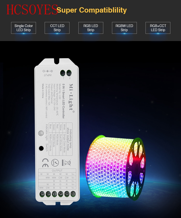 Mi Light LS2 2.4G Wireless Control DC12V-24V 5 In 1 Smart LED Controller For Single Color, CCT, RGB,RGBW,RGB+CCT LED Strip Light