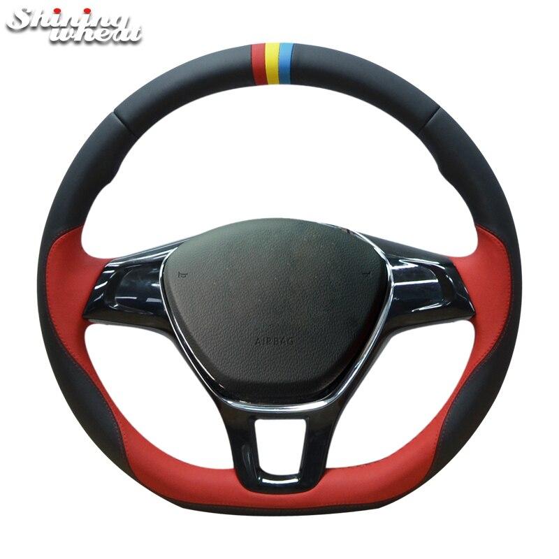 Shining wheat Black Red Leather Steering Wheel Cover for Volkswagen VW Passat B8 Golf 7 Mk7