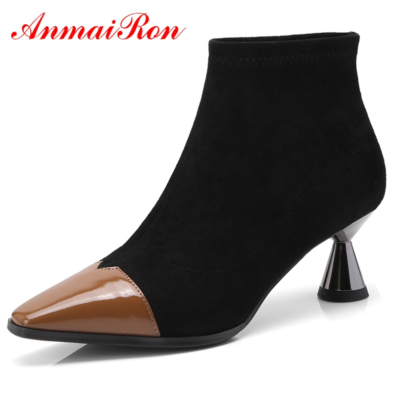 ANMAIRON 2018  Genuine Leather  Basic  Pointed Toe  Women Boots   Slip-On  Women Shoes Ankle Boots Women Size 34-39 LY204ANMAIRON 2018  Genuine Leather  Basic  Pointed Toe  Women Boots   Slip-On  Women Shoes Ankle Boots Women Size 34-39 LY204