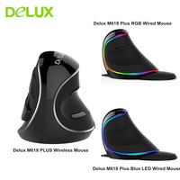 Delux M618 Plus Computer RGB Wired Vertical Mouse Ergonomic USB 4000 DPI Optical Healthy Wireless Mouse