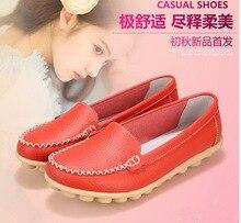 Spring Summer Women Flat Shoes Genuine Leather Mother Shoes Soft Leisure Sapatos Femininos Moccasins Nurse Shoes Plus Size 35-42