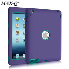 Hybrid Armor Case For iPad 2 iPad 3 iPad 4 Kids Safe Shockproof Heavy Duty Silicone + PC Hard Case Cover w/Screen Protector Film