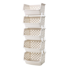 Large capacity multi-function can be superimposed fruit storage basket plastic basket kitchen finishing Rack