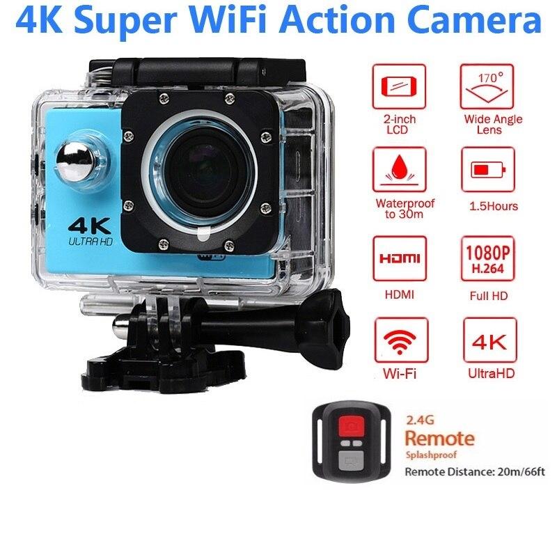 ELECTSHONG 1080 p deportes Wifi Cámara 4 K 16MP digital Vídeo Cámara 30 m resistente al agua HD Control remoto la cámara 2,0 'pantalla