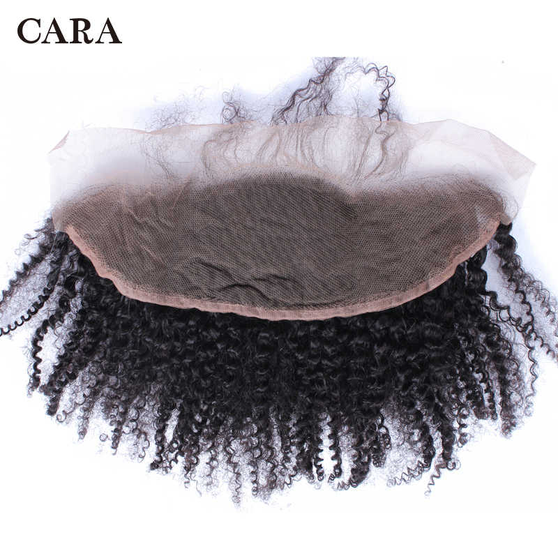 Afro Kinky Curly Hair Lace Frontal Closure Brazilian Hair Pre Plucked Hairline With Baby Hair Free Part 13x4 Non-Remy CARA Hair