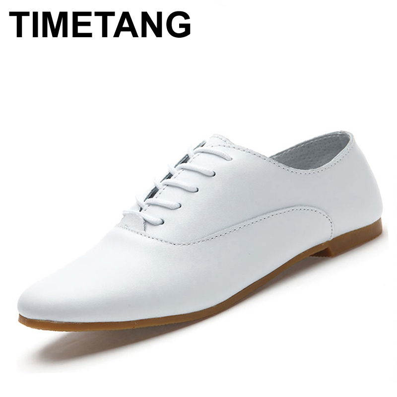 TIMETANG Genuine Leather Oxford Shoes For Women Flats Fashion Women Shoes Moccasins Sapatos Femininos Sapatilhas Zapatos Mujer timetang genuine leather shoes woman ballet flats oxford shoes for women lace up flat shoes four seasons fashion zapatos mujer