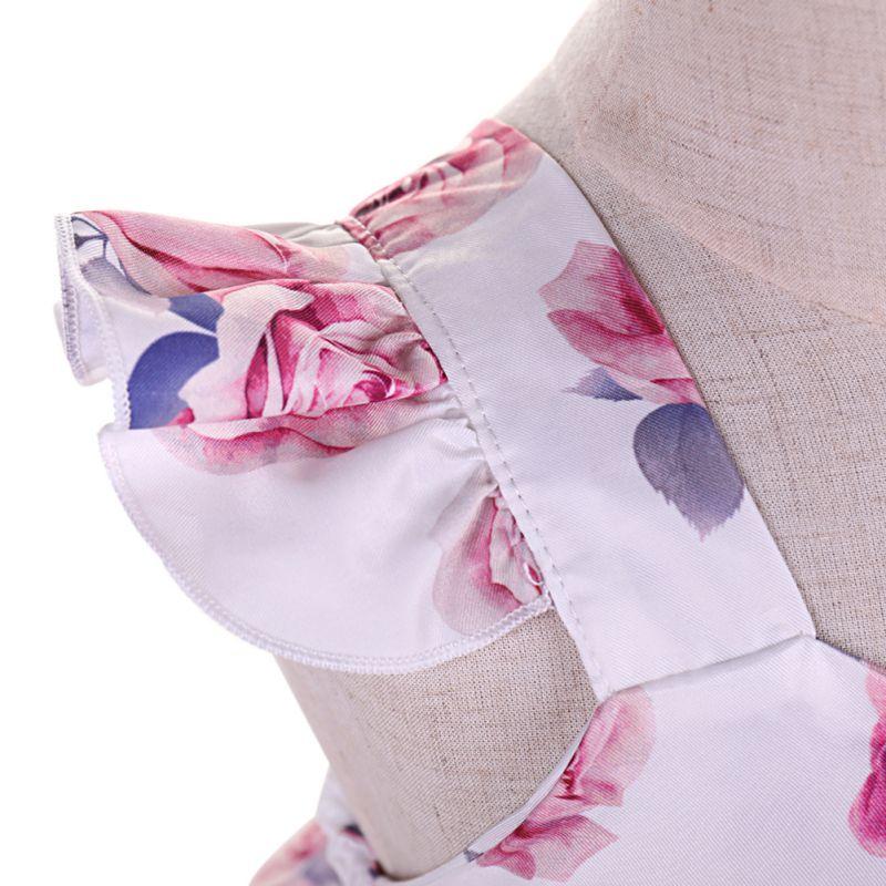 2018 Hot Summer Baby Girls Dress V Neck A Line Sleeveless Bandages Floral Printed Dress Baby Clothing