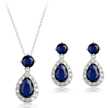 White Gold Color Top Quality Blue Cubic Zirconia Stone Necklace/Earrings Wedding Jewelry Sets For Women Party